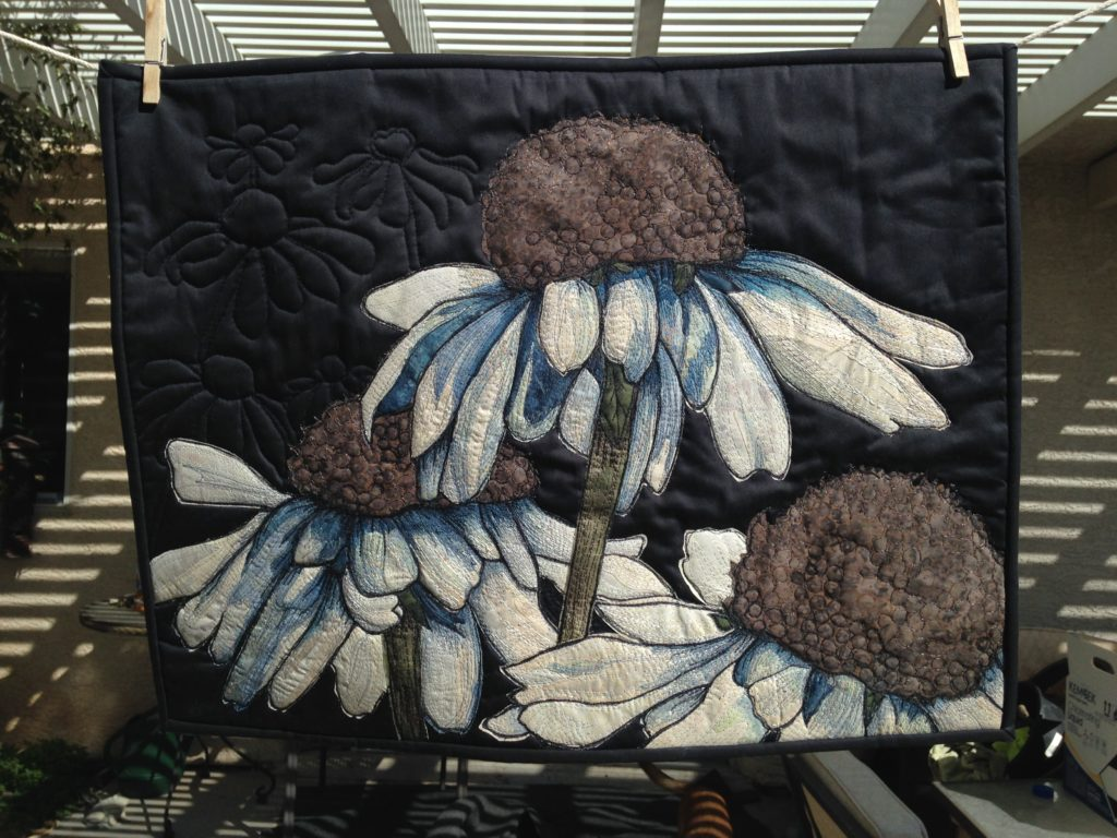 "Coneflower Art Quilt 18""x24"" $500"