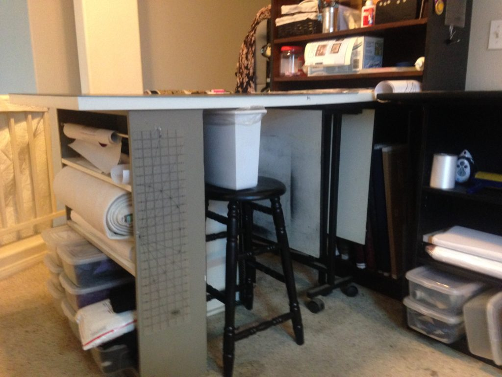 Sept 2016 I have moved out the Drawer Units and now store my art table under so I can pull out when I need an extra for laying out things.